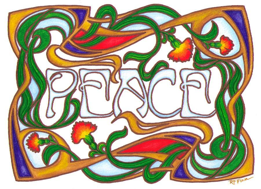 Peace Project Painting - Peace Note Card Design by Rowena Finn