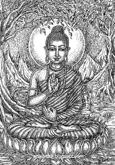 Landscape Drawing - Peace Of Buddha  by ANIKARTICK Azhagarsamy