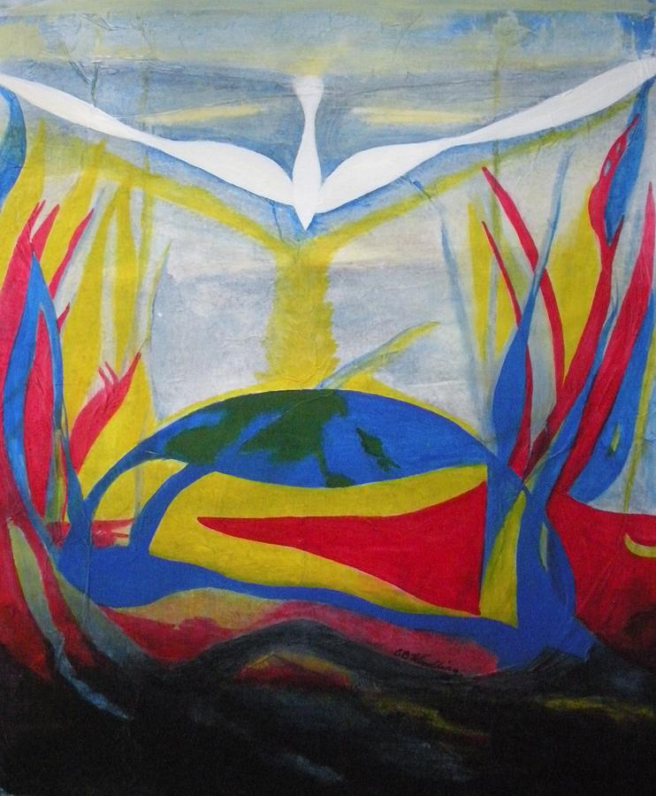 Dove Painting - Peace Rising From Chaos by CB Woodling