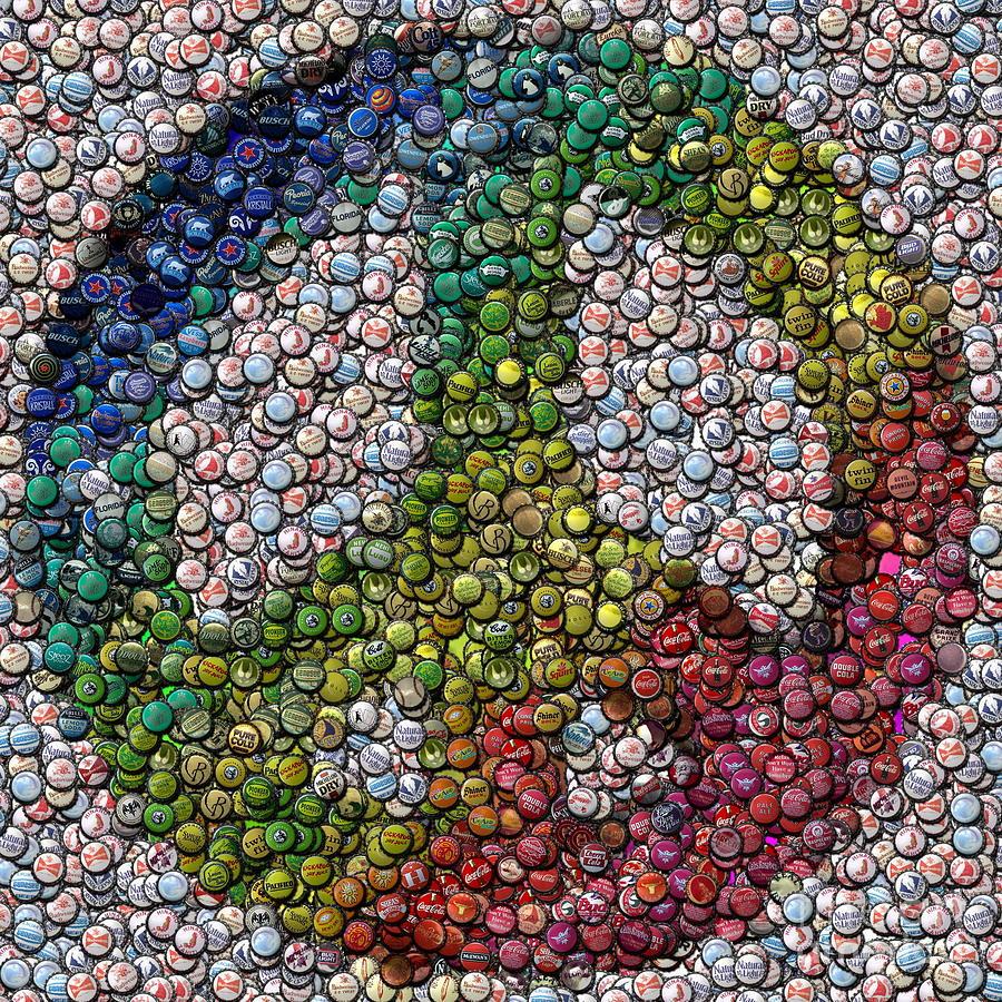 Peace sign bottle cap mosaic digital art by paul van scott for How to make beer bottle cap art