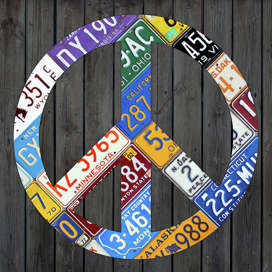 Peace Sign Recycled Vintage License Plate Art By Design Turnpike