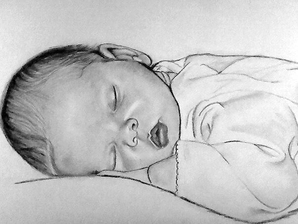 Baby Drawing - Peaceful by Andrea Realpe