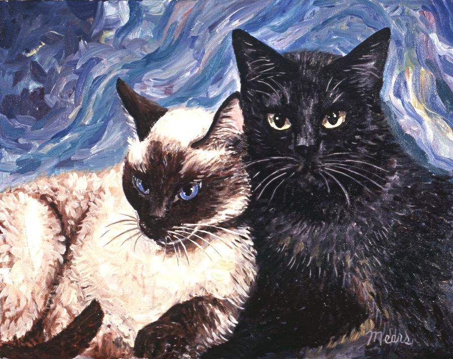Cats Painting - Peaceful Coexistence by Linda Mears
