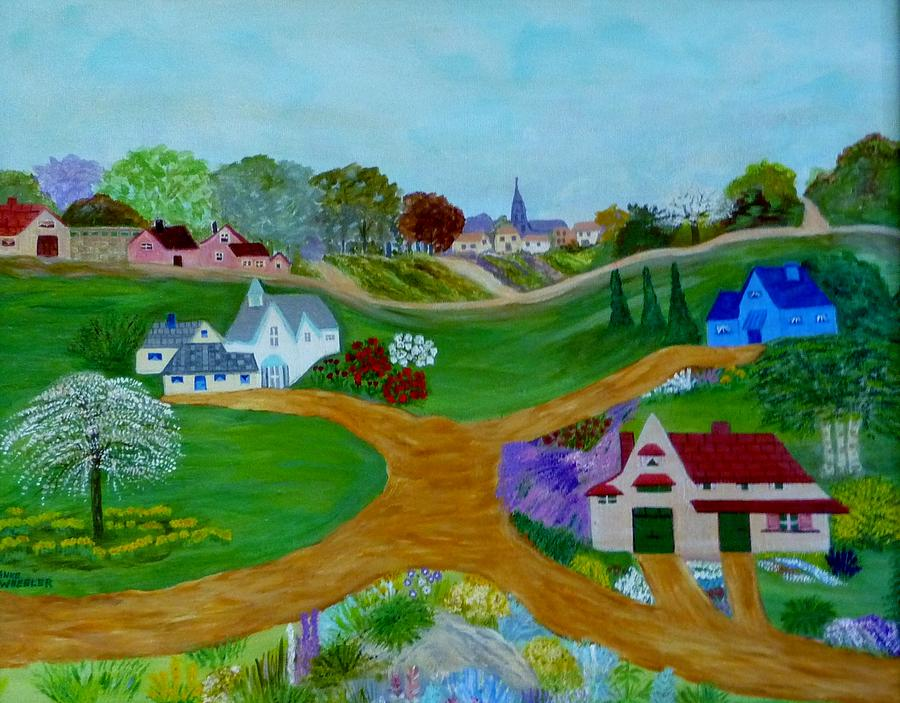 Acrylic Painting - Peaceful Country Lanes by Anke Wheeler