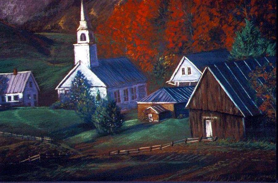 Church Pastel - Peaceful Dwellings by Tommy  Winn