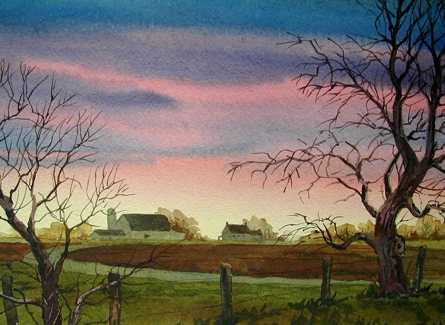 Amish Farm Painting - Peaceful Evening by Faye Ziegler