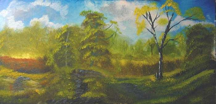 Peaceful land 12x24 by artist bryan perry Painting by Bryan Perry