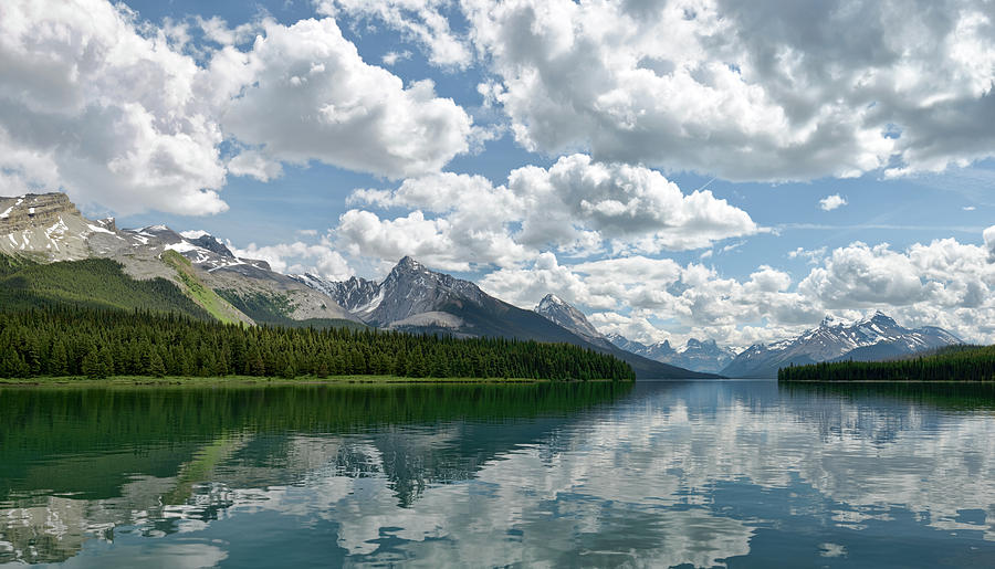 Lake Photograph - Peaceful Maligne Lake by Sebastien Coursol
