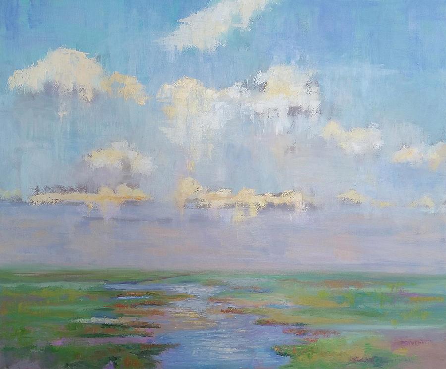 Seascape Painting - Peaceful marsh by Julie Brayton