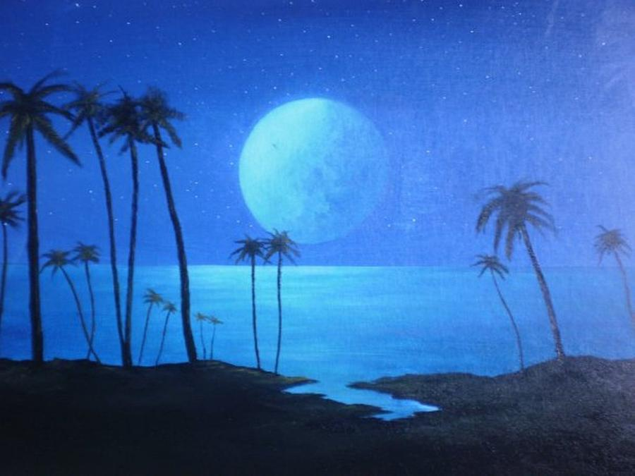 Palm Trees Painting - Peaceful Moonlit Night by Michael Odom