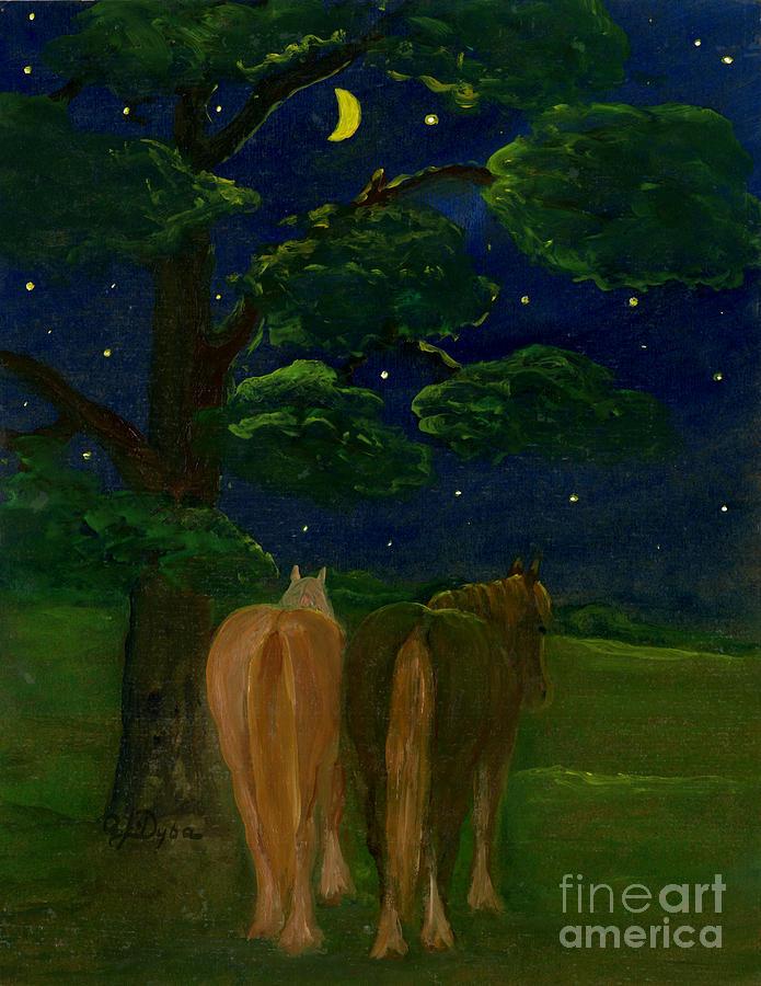 Horses Painting - Peaceful Night by Anna Folkartanna Maciejewska-Dyba