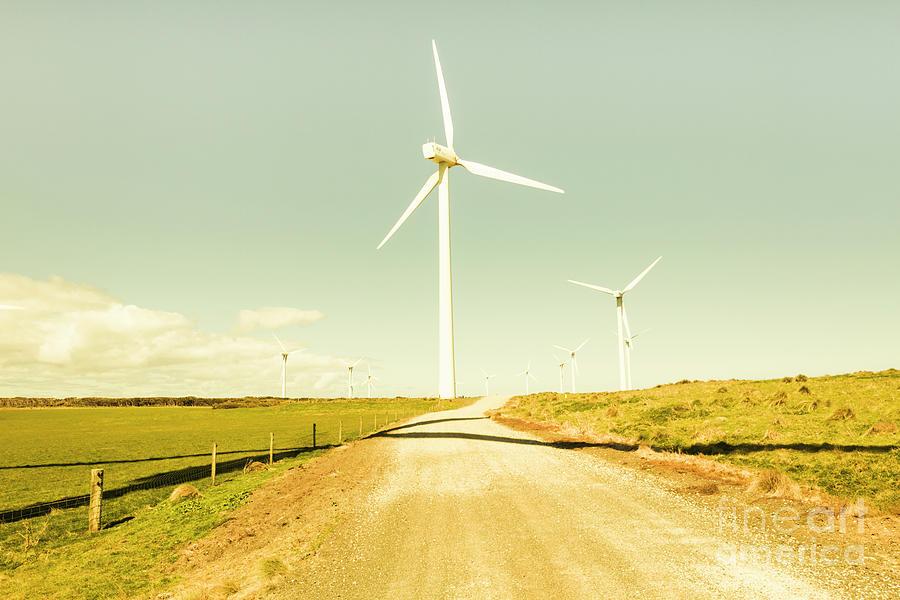 Farm Photograph - Peaceful Pastel Wind Farm by Jorgo Photography - Wall Art Gallery