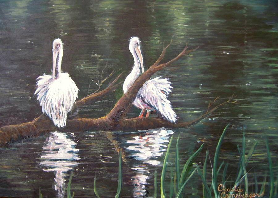 Lake Painting - Peaceful Pelicans by Claudia Croneberger