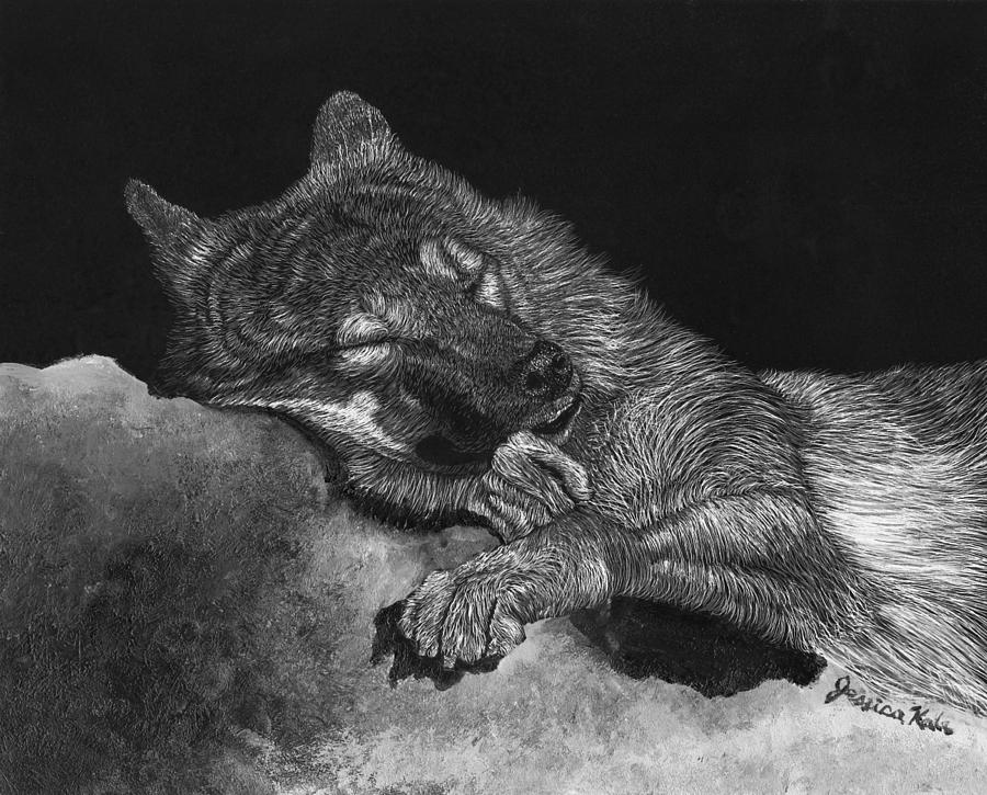 Wolf Mixed Media - Peaceful Slumber by Jessica Kale