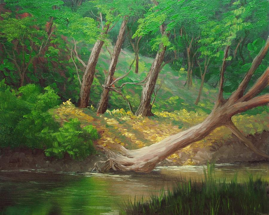 Oil Painting - Peaceful Stream by Nolan Clark