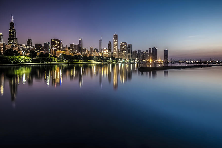 Chicago Photograph - Peaceful Summer Dawn Scene On Chicagos Lakefront by Sven Brogren