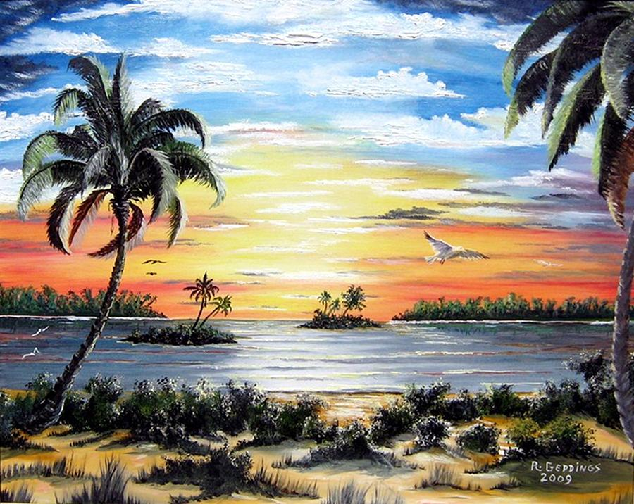 Art Work Painting - Peaceful Sunset by Riley Geddings