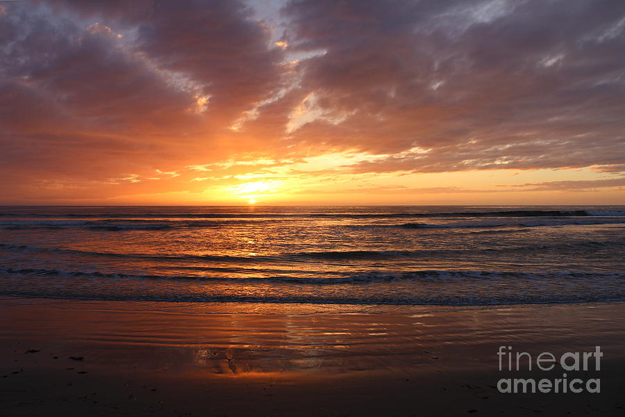Sunset Photograph - Peaceful Waves by Maria Pogoda