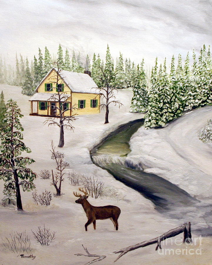 Winter Painting - Peaceful Winter Day by Timothy Smith