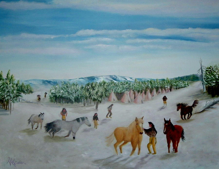 Indians Painting - Peaceful Winter by Mary Kaser