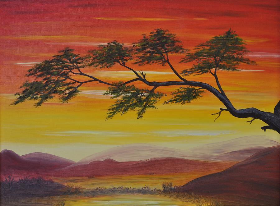 Sunset Painting - Peacefulness by Georgeta  Blanaru