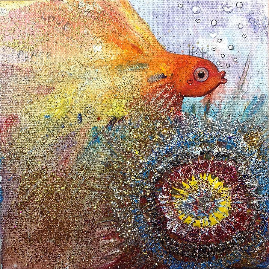 Gold Fish Painting - Peace,love,light  by Nino Gabashvili