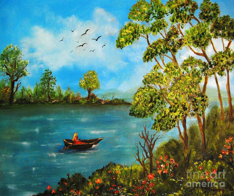 Peacful Boating Painting by Tina Haeger
