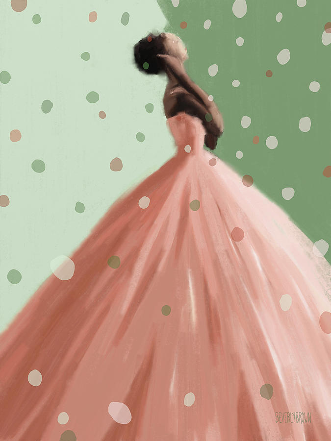 Peach And Mint Green Fashion Art Painting By Beverly Brown