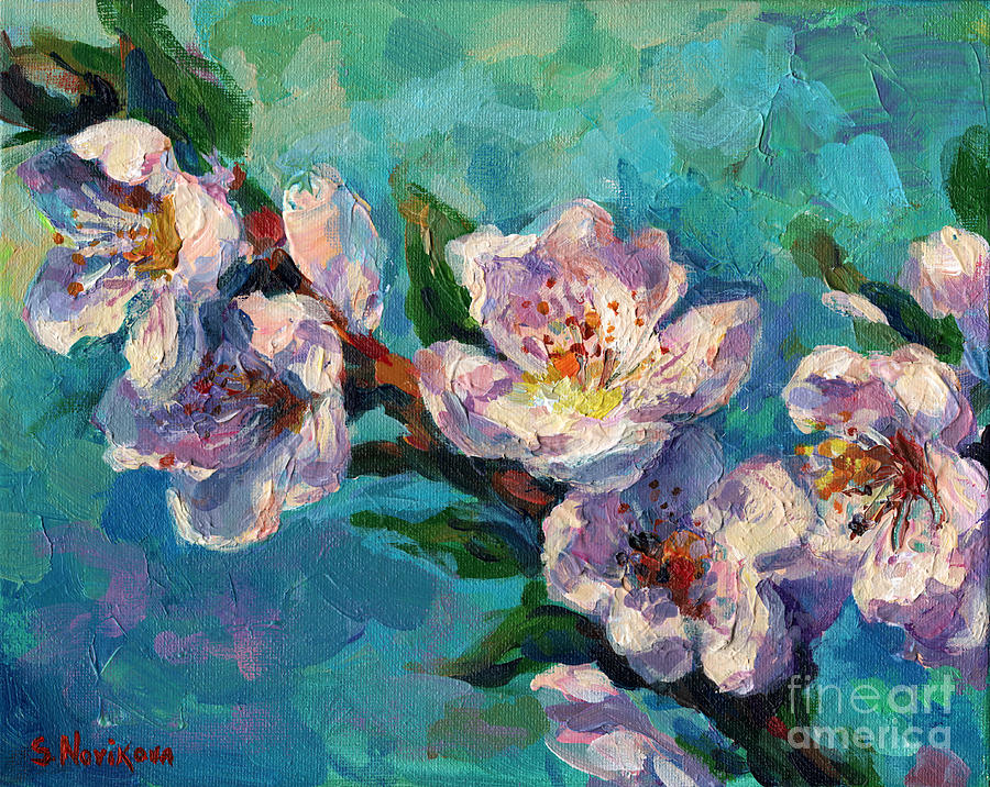 Peach Blossoms flowers painting by Svetlana Novikova