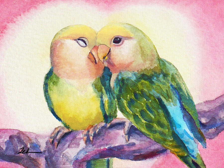 Peach-faced Lovebirds by Janet Zeh