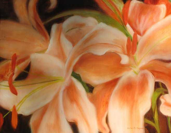 Peach Lillies Painting by Selma Cooper