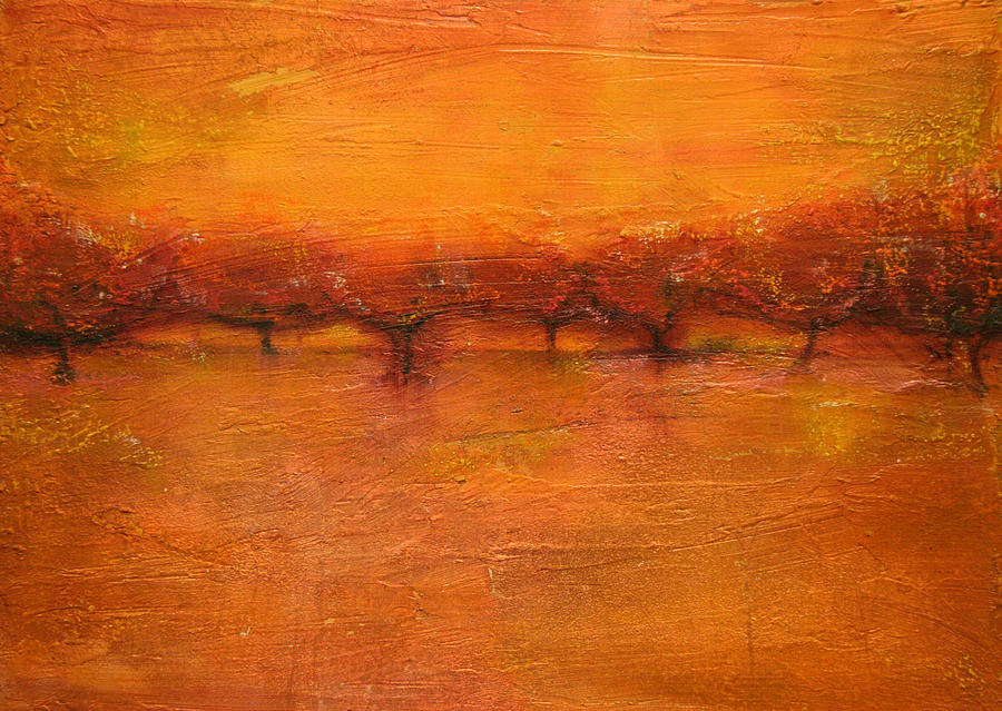 Oil Mixed Media - Peach Orchard by Patt Nicol