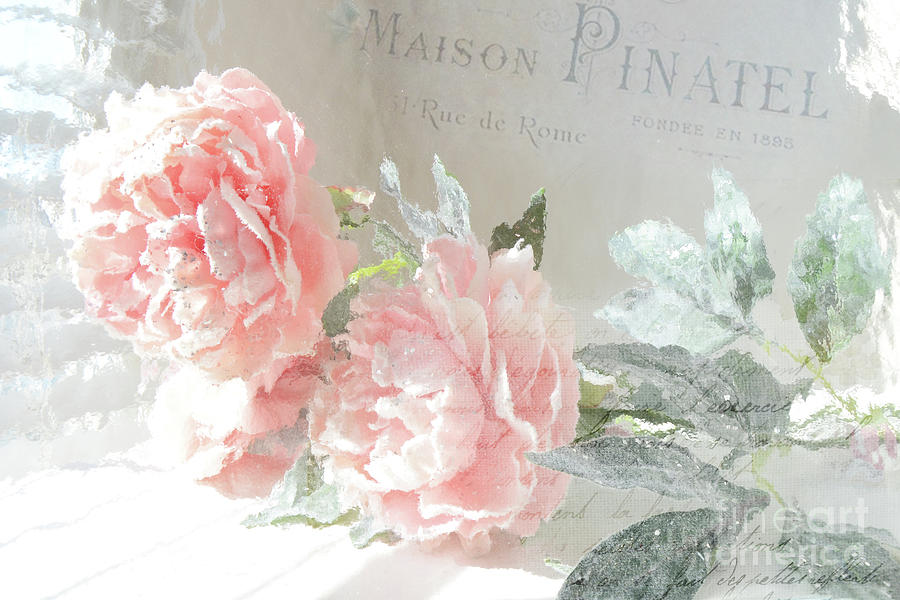 Peony Photograph - Peach Peonies Impressionistic Peony Floral Prints - French Impressionistic Peach Peony Prints by Kathy Fornal
