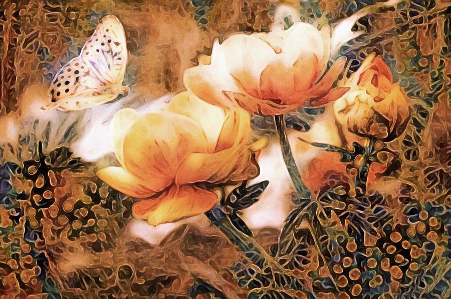 Garden Mixed Media - Peach Peonies by Susan Maxwell Schmidt