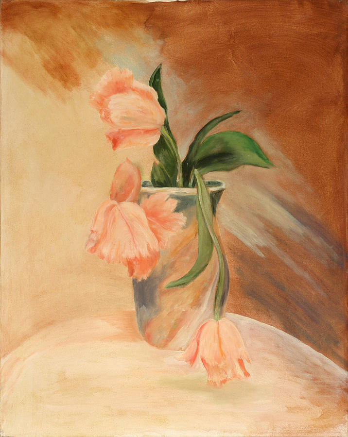 Floral Still Life Painting - Peach Tulips by Betty Stevens