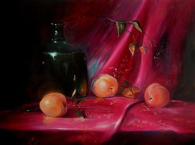Peaches Painting - Peache Time by Virginia Larrea LaTourrette