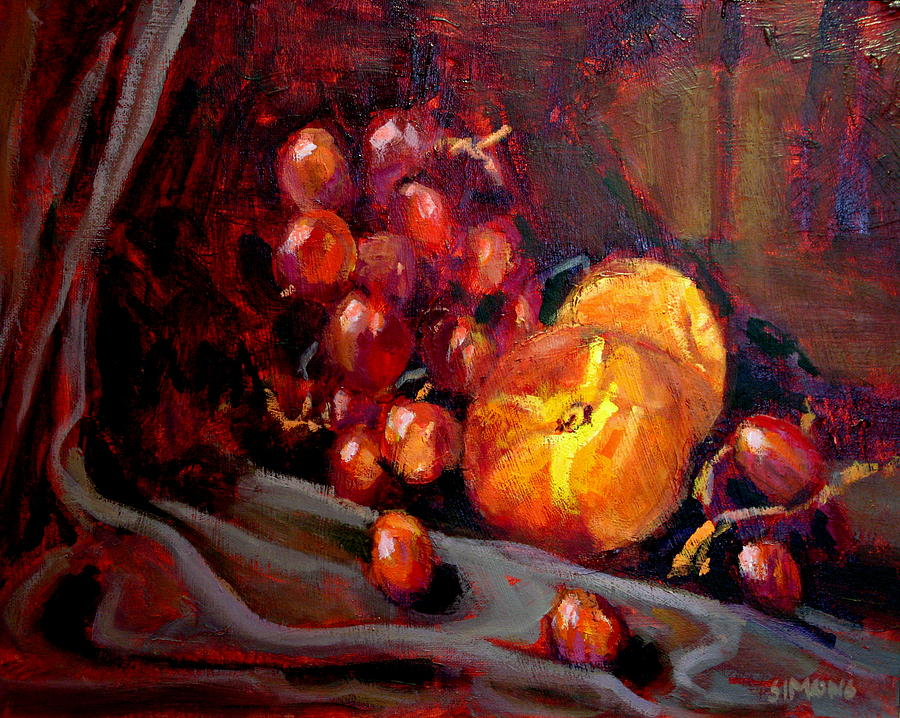 Fruit Painting - Peaches And Grapes by Brian Simons