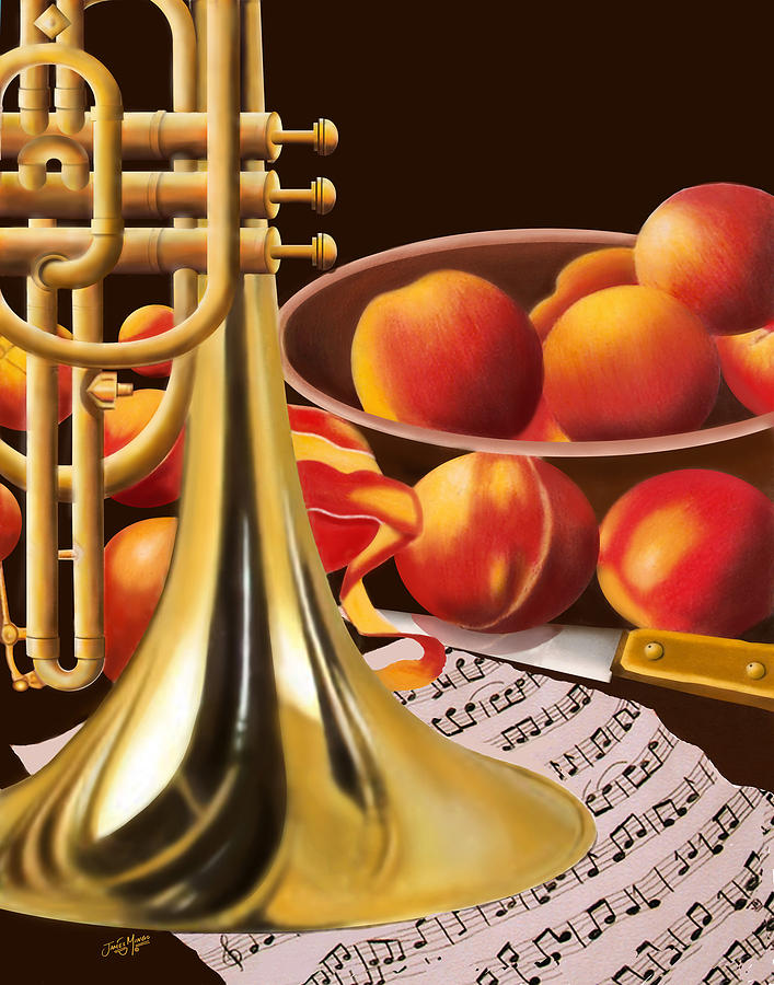 Fruits Painting - Peaches And Horn by James  Mingo