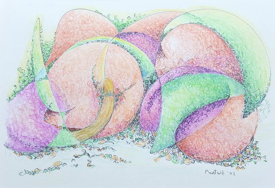 Peaches Drawing - Peaches And Plums by Dave Martsolf