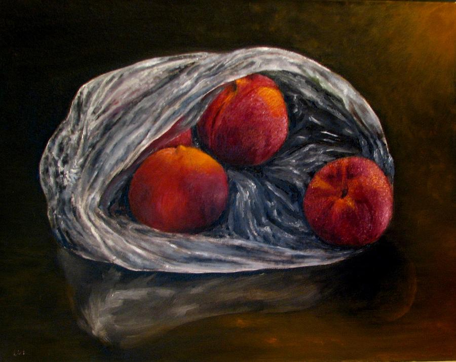 Peaches Painting - Peaches In Plastic Bag Oil Painting by Natalja Picugina