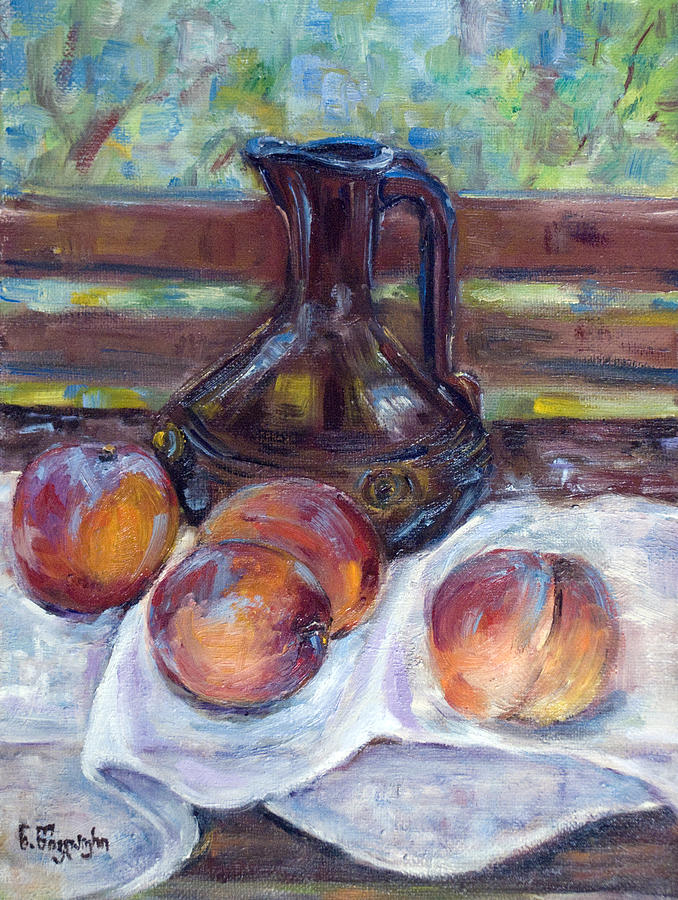Oil Painting Painting - Peaches by Natia Tsiklauri