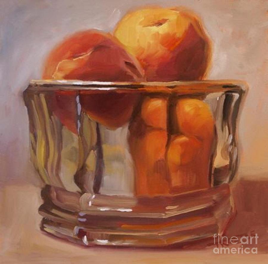 Peach Painting - Peaches Print Wall Art Room Decor by Patti Trostle