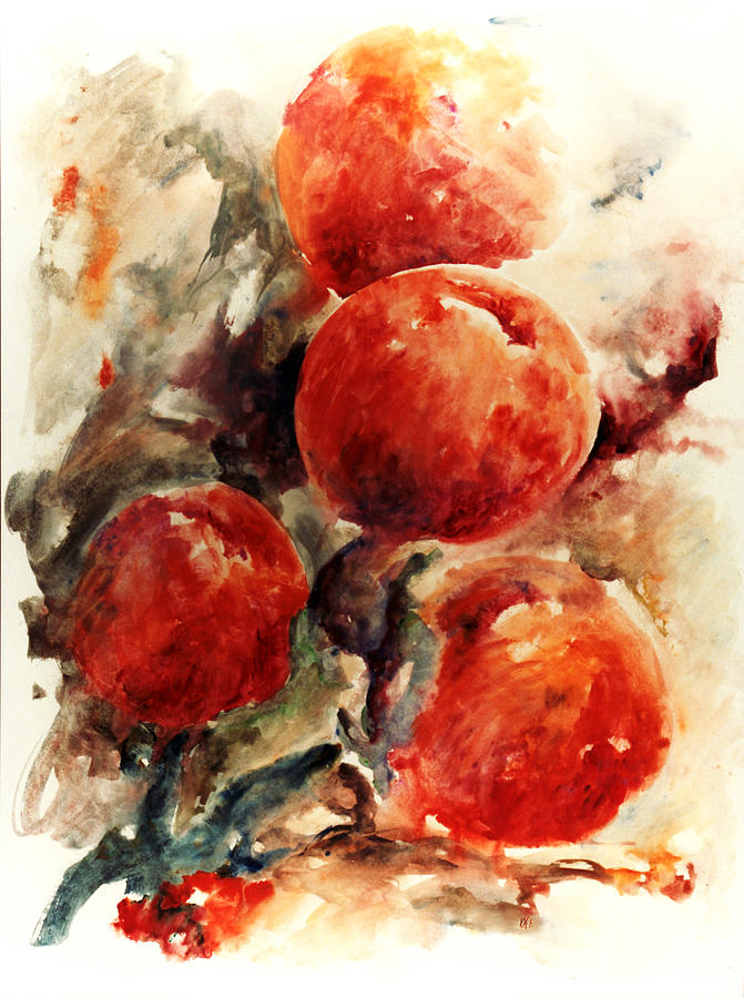 Abstract Painting - Peaches by Rachel Christine Nowicki