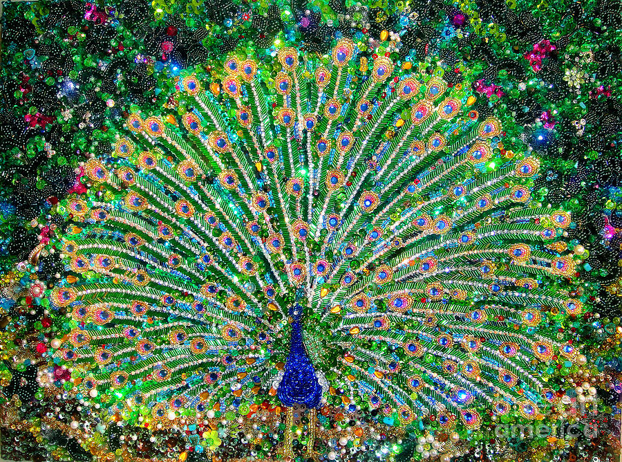 Peacock Beadwork Art Bead Embroidery Painting by Sofia Metal Queen