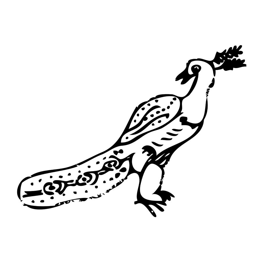 Drawing Drawing - Peacock Bird by Karl Addison