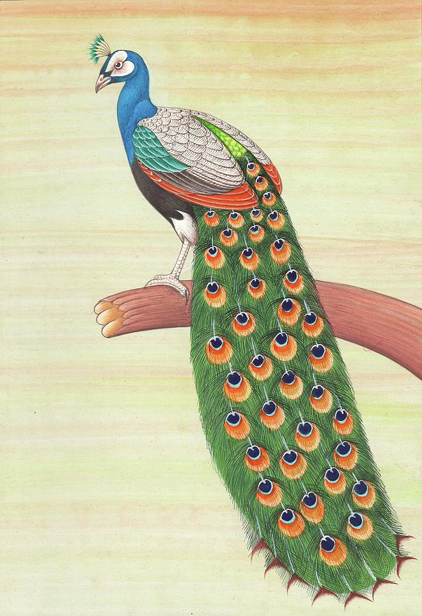 Handmade Peacock Bird Pair Indian Miniature Painting Jewellery Lifelong Memory Personal Gift For Art Lover