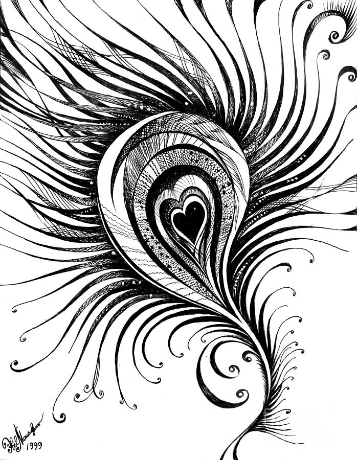 Peacock Feather. Black-white Drawing Drawing by Sofia ...