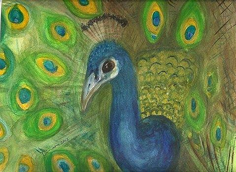 Peacock Painting - Peacock For My Sister by Denise Marie Johnson