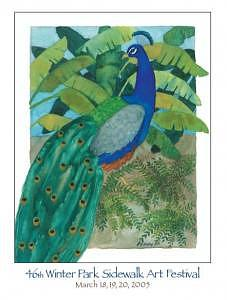 Peacock Bird Painting - Peacock by Helen Hickey