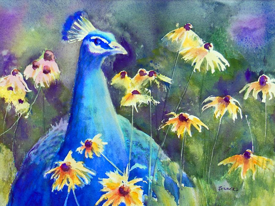 Peacock Painting - Peacock in the flowers by Diane Binder